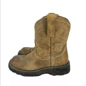 ARIAT FATBABY BROWN LEATHER COWBOY BOOTS 6.5 B